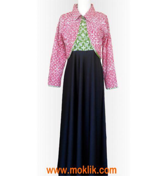 long dress batik kombinasi silk satin