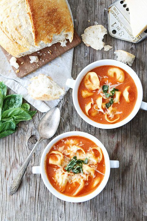 Creamy Tomato Tortellini Soup Recipe on twopeasandtheirpod.com So easy and SO good!