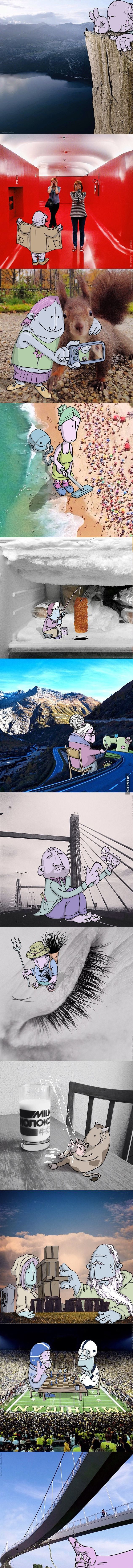 Illustrator adds cartoons to real life photos and they are awesome! (Part 2) - 9GAG