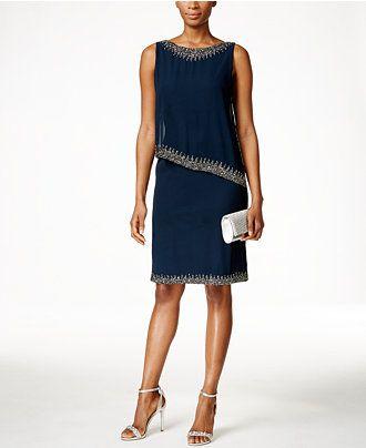 J Kara Beaded Capelet Dress - Dresses - Women - Macy's