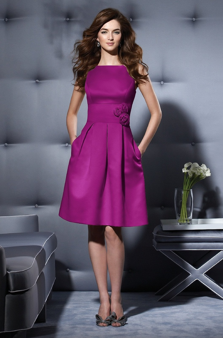 satin cocktail dress in Persian plum