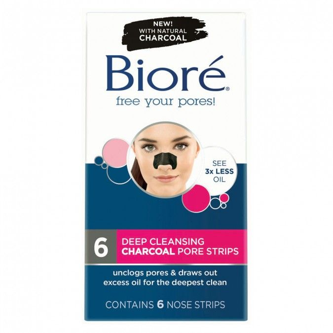 Biore Deep Cleansing Charcoal Pore Strips unclogspores & draws out excess oil for the deepestclean.