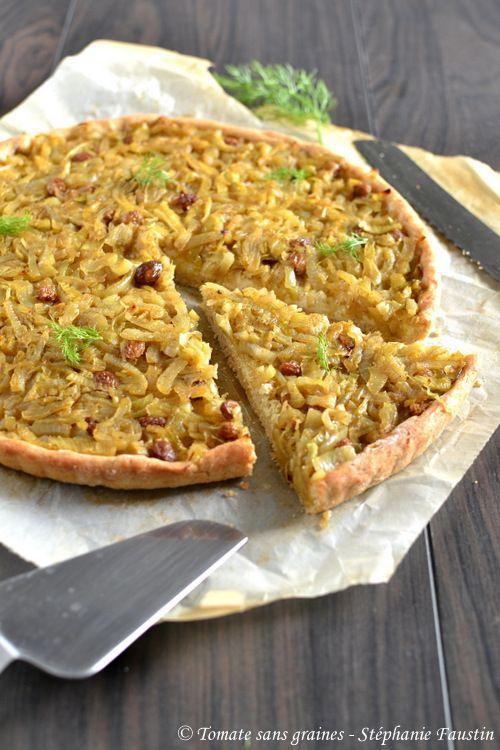 Tarte à l'oignon, fenouil et raisins secs : http://tomatesansgraines.blogspot.fr/2017/04/tarte-loignon-fenouil-et-raisins-secs.html
