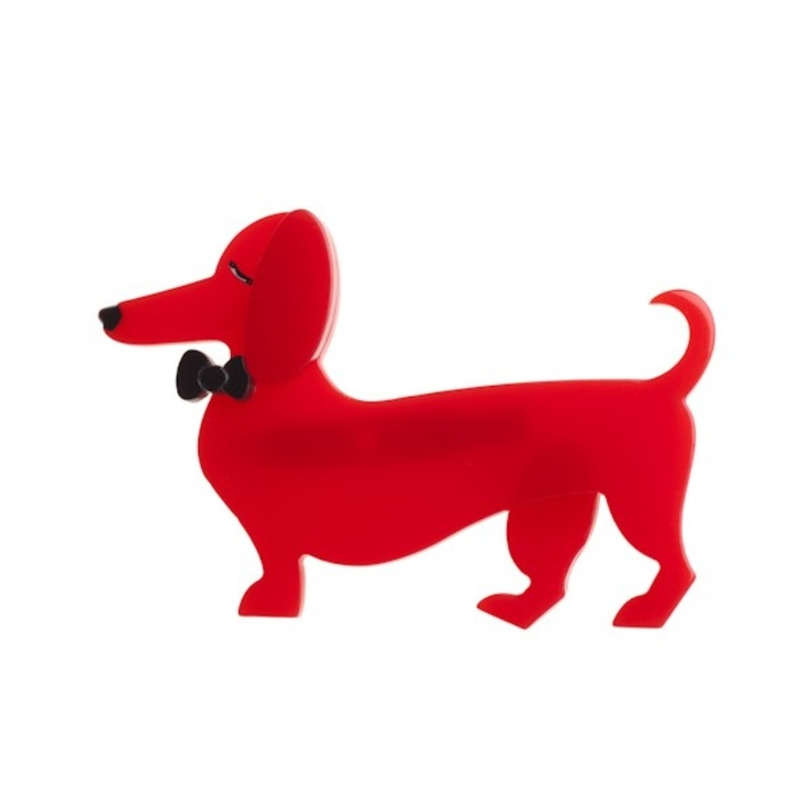"""Spiffy the rather spiffy sausage dog says 'Maybe you've been looking for love in all the wrong places. A dog will treat you better than anyone you meet at happy hour. Trust me, I've been to happy hour.""   Love this Erstwilder brooch!"