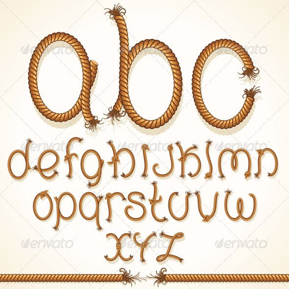Rope Font  #GraphicRiver         Rope Font. Vector Set of Isolated Alphabet Letters Made from Braided Cord All Letters grouped.