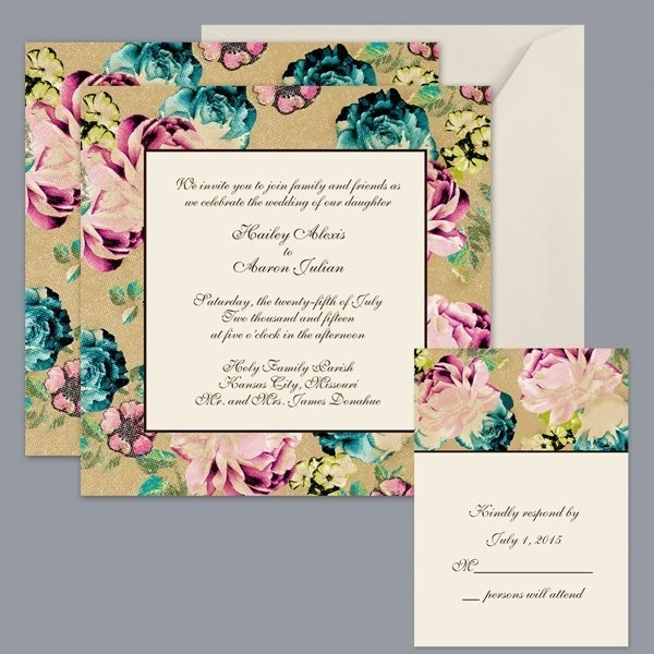Classic Romantic Rustic Blue Pink Invitations by David's bridal Invitations Reply Cards Spring Summer Wedding Invitations Photos & Pictures - WeddingWire.com