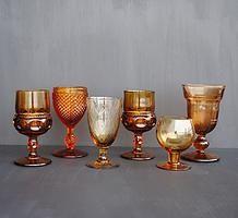 Amber glass vintage goblets