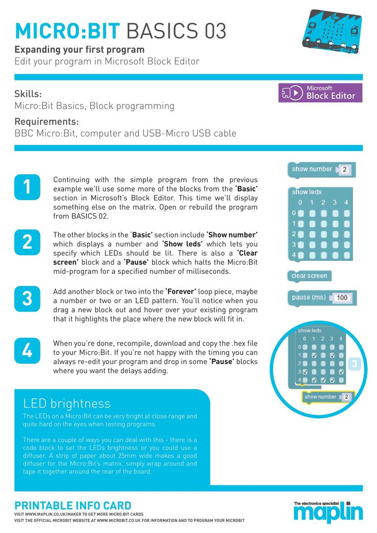 Micro:Bit basics by Maplin - Make your first graphic on the Micro:Bit - FREE sheets for schools and code clubs