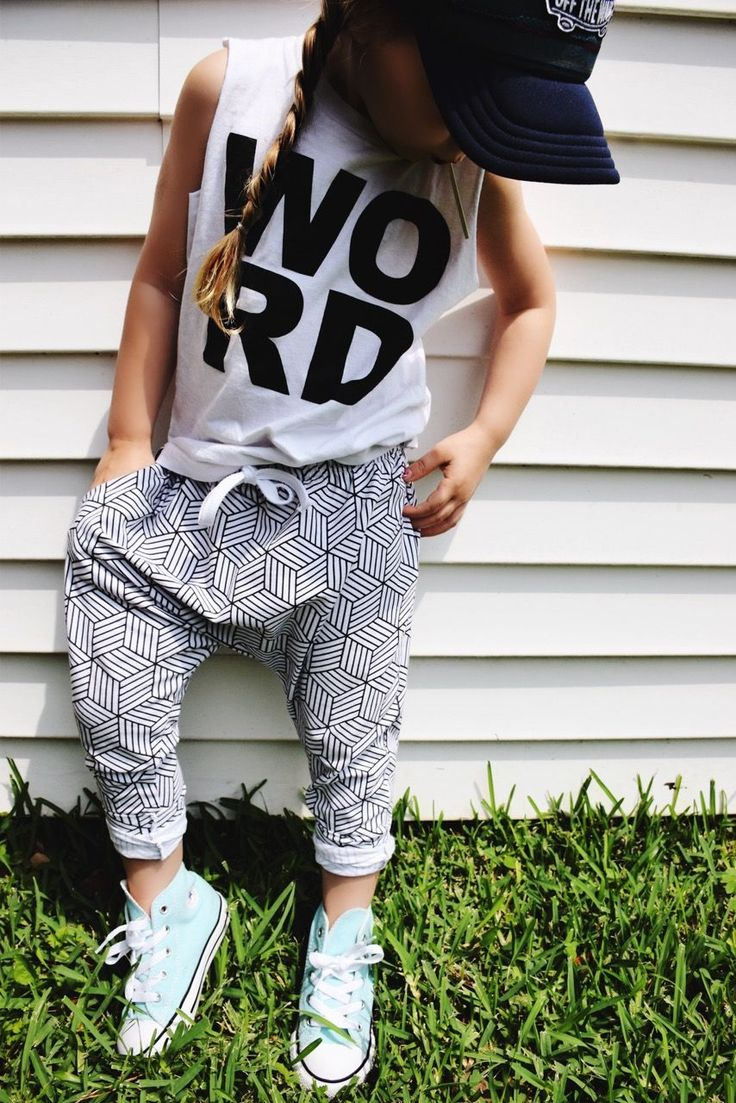 Click here for the best baby/toddler summer style. sporty girl style. monochrome joggers. athleisure cutoff tee.