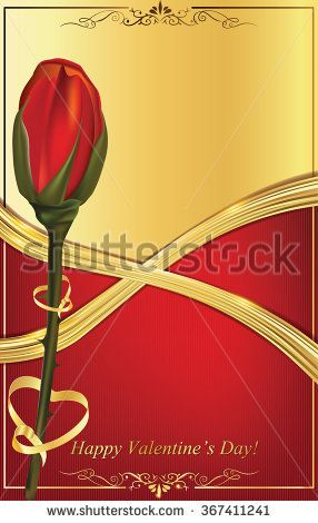 Happy Valentine's Day background with red rose. Print colors used.