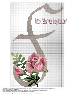 alphabet - f - rose - point de croix - cross stitch - Blog : http://broderiemimie44.canalblog.com/