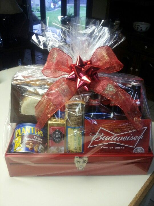 Manly handy man gift basket using toolbox for basket. Great gift for mens bday!