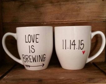 His and hers mugs, love is brewing mug set,  wedding mugs, mr. And mrs. Mugs, engagement mugs,mugs for bridal shower,wedding mug set