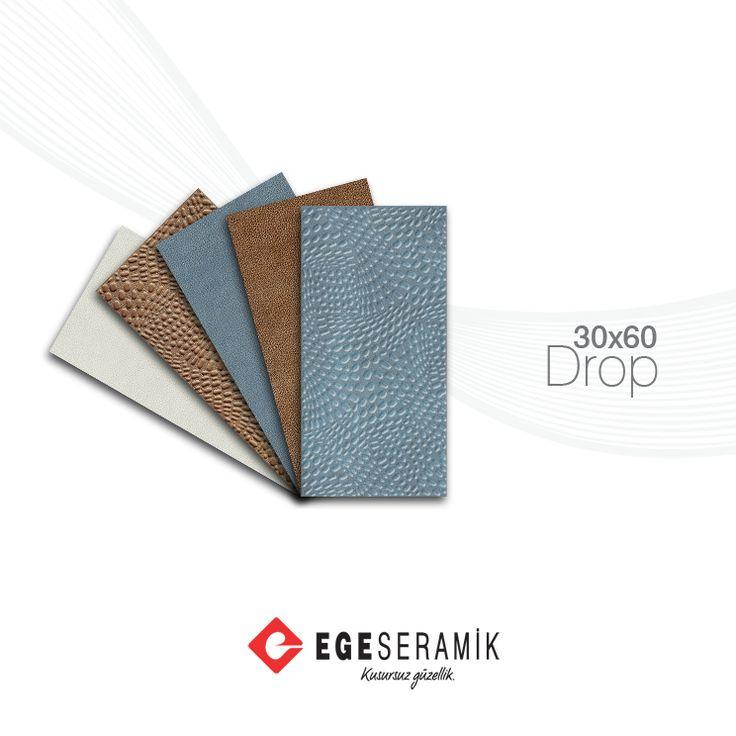 Ege Seramik'in Türkiye ile tanıştırdığı dijital baskı teknolojisi ile üretilen Drop serisinde doğanın renkleri ve dokunuşları birleşiyor. Kahve ve mavi tonlar, yüzeyinde su damlacıklarını simgeleyen Talia rölyefi ile zenginleşiyor.  30x60 cm duvar karosu ve 45x45 cm sırlı granit ebatlarında üretilen seri, gözalıcı estetiği ile banyolarda yerini alıyor.