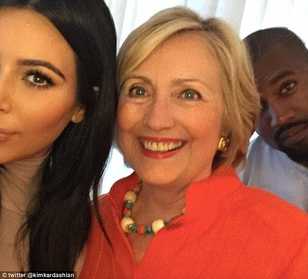 Huge fan: Kim famously posed for a selfie with Hillary in August, and her husband Kanye West was also pictured in the famous picture