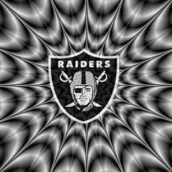 Raiders symbol with gray n black lines looks as if moving
