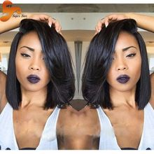 Best Human Hair Bob Wig Brazilian Virgin Hair Full Lace Wig Unprocessed Glueless Short Bob Lace Front Wigs For Black Women Stock(China (Mainland))