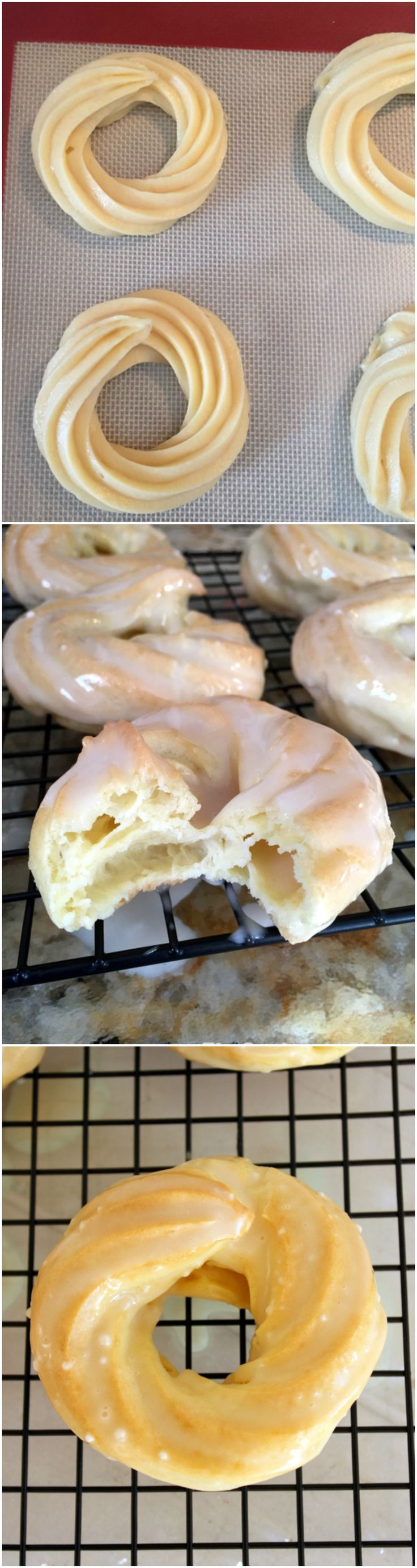 Oven Baked French Cruller Donuts