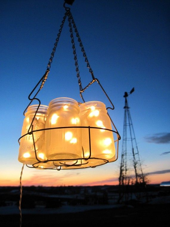 Frosted Mason Jar Chandelier $85.50  I think this is completely awesome and would be so easy to put together yourself!: Masons, Canning Jars, Jars Candles, Christmas Lights, Mason Jars Lanterns, Lights Ideas, Mason Jars Lights, Mason Jars Chandeliers, Mason Jar Chandelier