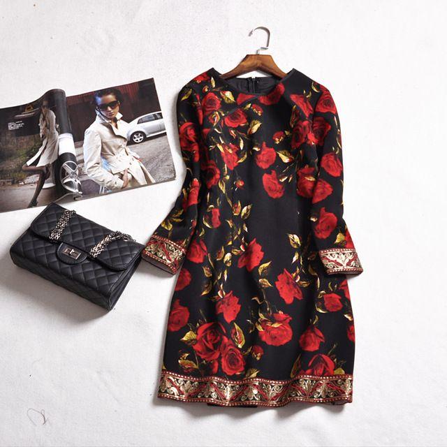 Женщины Весна Dress 2017 Мода Красный Цветочный Принт Черный Карандаш Тощие Dress Вскользь Уменьшают Элегантный Three Четверти Рукав Платья