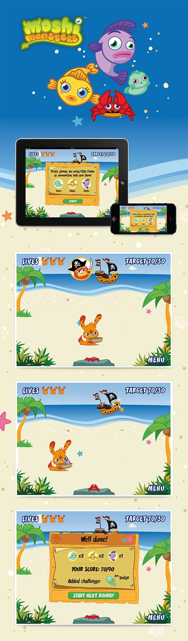 #Moshi #Monsters - fish #game. Created new fish and crab #characters, #interactive #concept for #gameplay, #art #work #executed on #Adobe #Illustrator. #kids #children #playbility