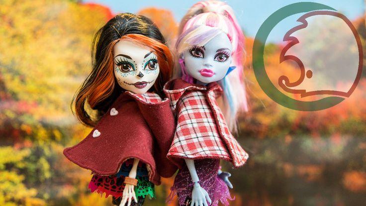 Как сделать накидку с капюшоном для куклы, Монстер Хай. How to make a cl...