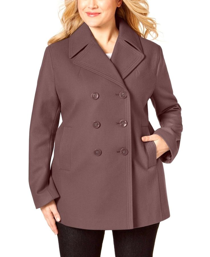 New Kenneth Cole Plus Size Double-Breasted Womens Peacoat Mauve 2X NWT MSRP $250