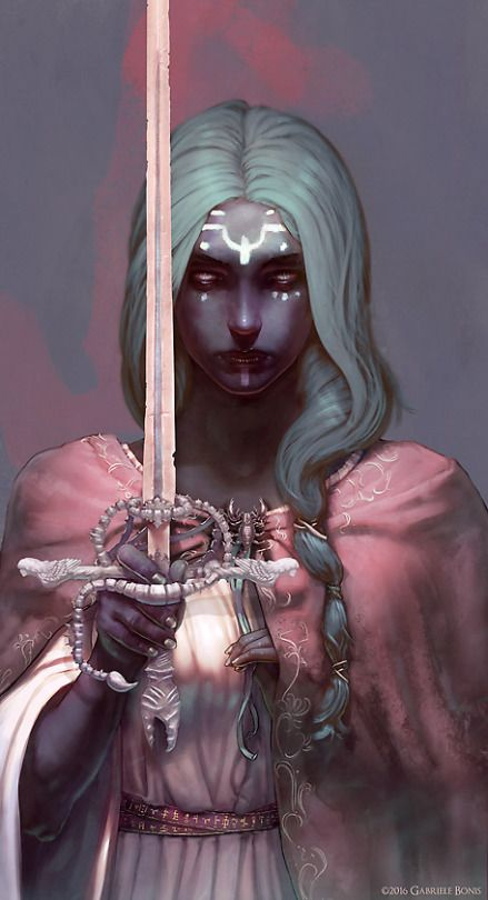 donkere huidskleur - wit/blauw haar - roze jurk - zwaard - tattoos