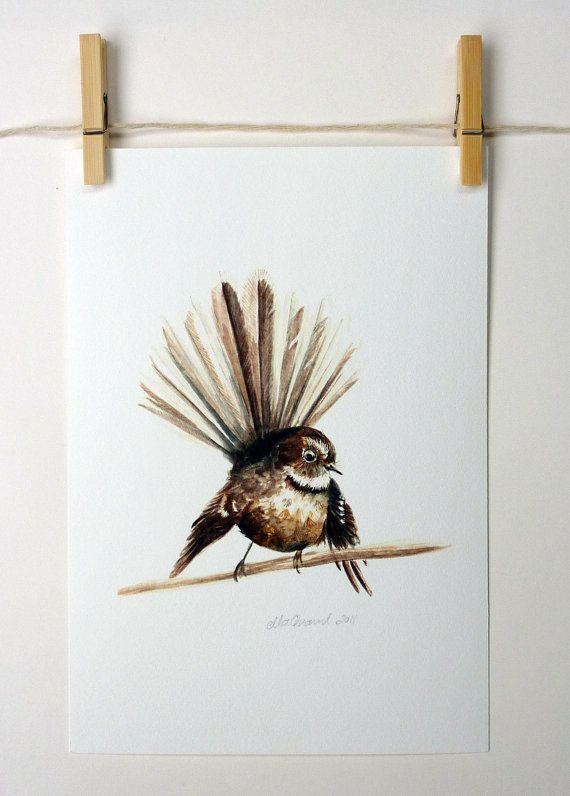 Piwakawaka  a native New Zealand bird giclee print by ellaCute, $42.00