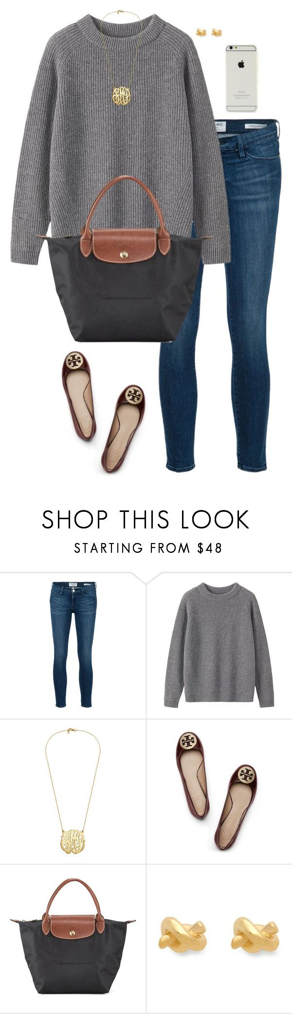 """Fallin into November"" by sc-prep-girl ❤ liked on Polyvore featuring moda, Frame Denim, Toast, Tory Burch, Longchamp ve Kate Spade"