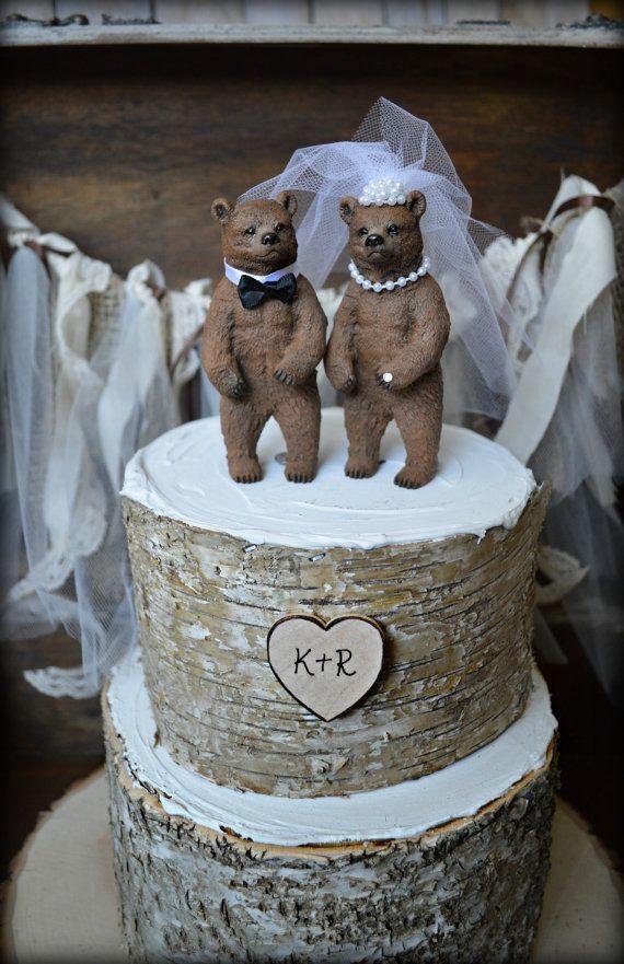 Bear wedding cake topper-bears-bear lover-black bear-grizzley bear-brown bear-bear lover-bear wedding-rustic wedding-fall wedding-kissing