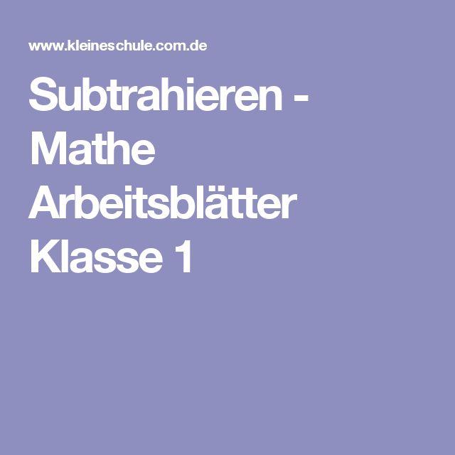Subtrahieren - Mathe Arbeitsblätter Klasse 1