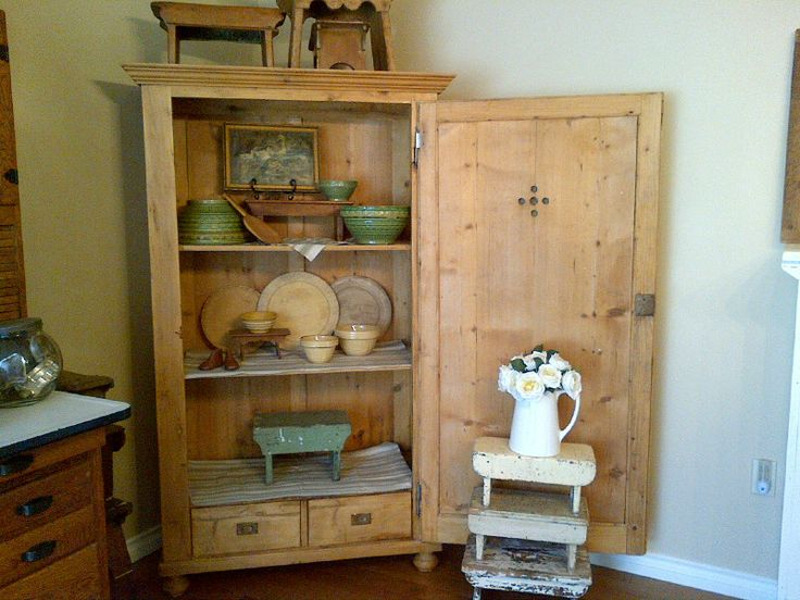 antique pine cupboard with 2 vents in front door - built-in drawers inside. - 209 Best Antique And Scrubbed Pine Images On Pinterest Board