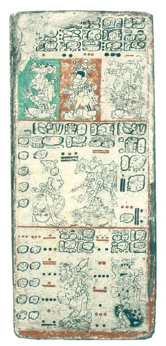 Dresden codex written in Mayan language on tree bark.  This is just one page.