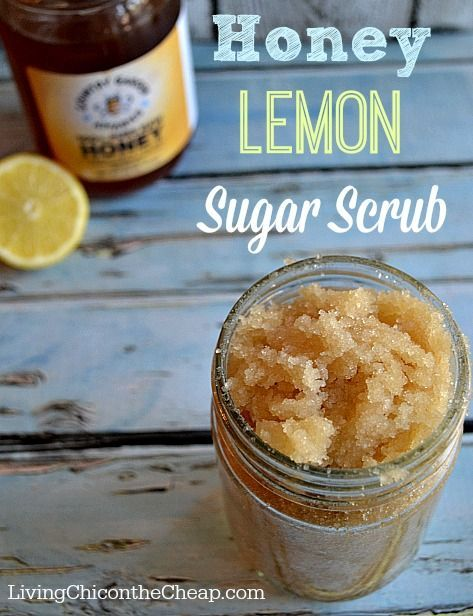 **Homemade Honey Lemon Sugar Scrub** Love this scrub! It is so EASY to make + you can make this for PENNIES! (So don't waste your $ on the fancy retail brand.) You probably already have everything you need at home to make this now.