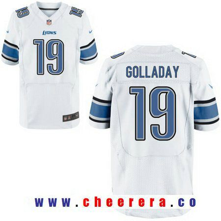 Men's 2017 NFL Draft Detroit Lions #19 Kenny Golladay White Road Stitched NFL Nike Elite Jersey