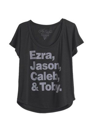 dELiAs > Pretty Little Liars Ezra Jason Caleb Toby Tee > tops > graphic tees > view all graphic tees...now how many are on TEAM A?!?!