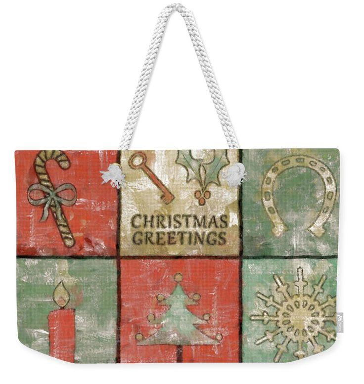Christmas Weekender Tote Bag featuring the painting Vintage Christmas Greetings by Grigorios Moraitis