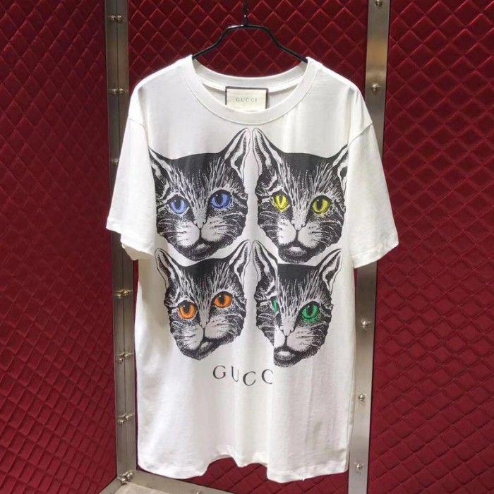 cce104a1e Gucci Mystic Cat and Guccy print T-shirt 492347_X3L41 in 2019 ...