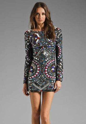 Batik Dress from Revolve Clothing. Batik prints and ethnic inspired prints have been reemerging in bold, dark colors for this season. This suggests a trend in globalization and ethnic inspired garments.   Christina S.