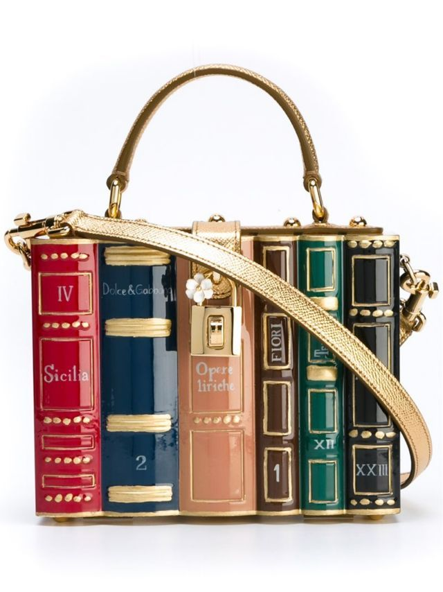 Multicolour wood book shelf tote from Dolce & Gabbana featuring a round top handle, a detachable and adjustable shoulder strap, a flip-lock closure, gold-tone hardware and an internal logo plaque. Size: OS. Gender: Female. Material: Wood/other fibers.
