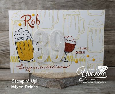 Yvonne is Stampin '& Scrapping: Stampin' Up! Mixed Drinks card for a man #stampinup #yvonnevanbruggen