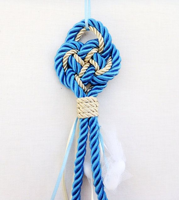 Boys Baptism Favors, Bombonieres, Baby Shower Gift, Christening Hanging Favors with Nautical Knot, Wall Decoration (FN5) - Set of 10 pcs