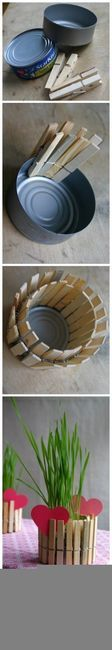 Mini Clothespin Pot  (can,plant,clothespin,craft,creative,home,center piece,decorating ideas)