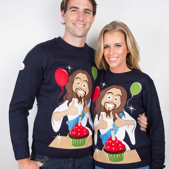 Kerst trui de Happy Birthday Jezus lelijk door FunkyXmasSweaters