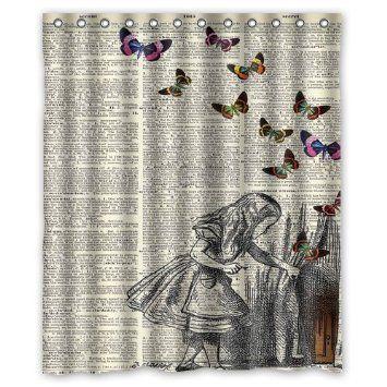 Alice In Wonderland Waterproof Bathroom Fabric Shower Curtain