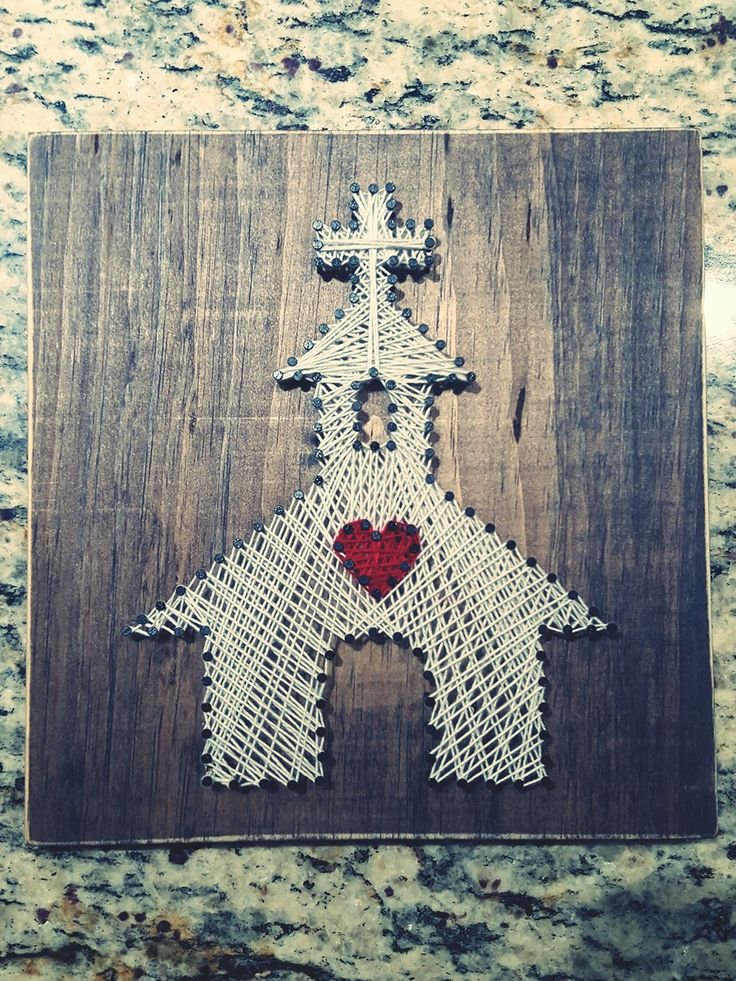 String Art nails stained wood white church