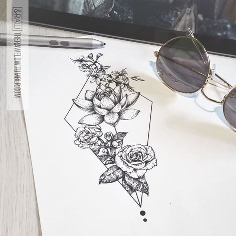 Dotwork floral design with honeysuckle, roses and lotus - custom thigh tattoo for Jessica
