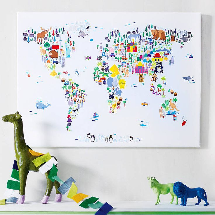 Animal world map print playrooms nursery and kids rooms for Kids room world map