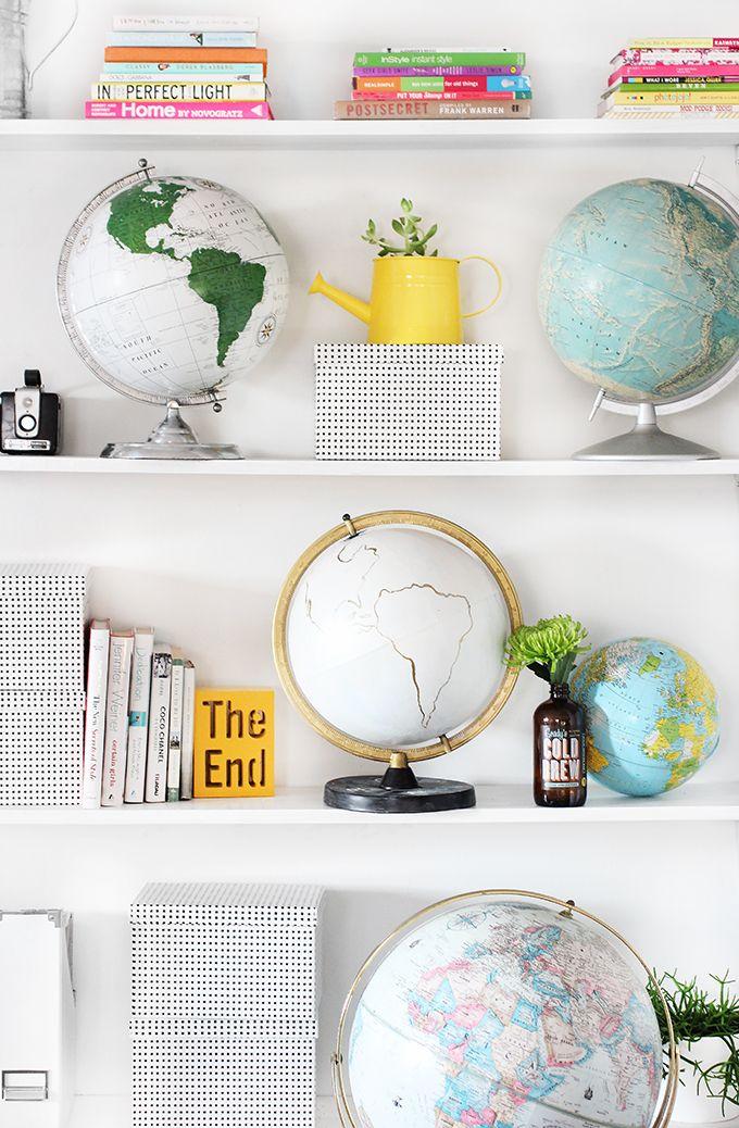 book shelf styling // globes #home #decor